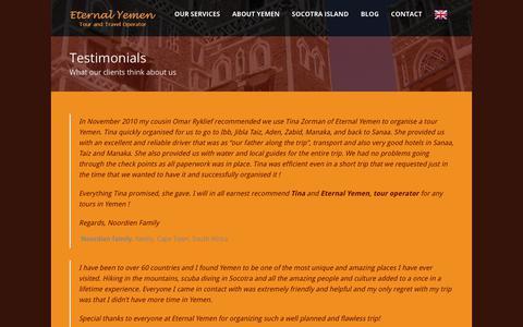 Screenshot of Testimonials Page eternal-yemen.com - Eternal Yemen   » Testimonials - captured Sept. 29, 2018