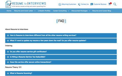 Screenshot of FAQ Page resumetointerviews.com - FAQ - Resume to Interviews - captured July 20, 2017