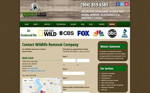 Screenshot of Contact Page quick-catch.com - Contact Wildlife Removal Company in Jacksonville Florida - captured July 25, 2018