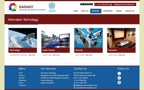 Screenshot of Services Page radiant-intl-consultants.com - Radiant Technology Management Consultants - captured March 16, 2016
