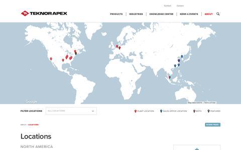 Screenshot of Locations Page teknorapex.com - North America Locations - captured Nov. 18, 2016