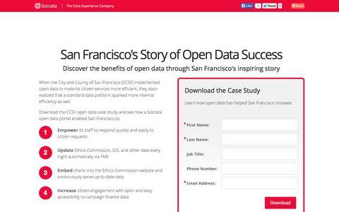 Screenshot of Landing Page socrata.com - Open Data Success Stories - captured Oct. 27, 2014