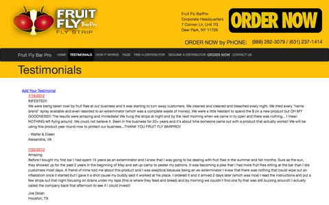 Screenshot of Testimonials Page fruitflybarpro.com - Fruit Fly Control & Remedies | Controlling & Prevent Flies, Cockroaches, Moths & Spiders - Fruit Fly Bar Pro - captured Sept. 30, 2014