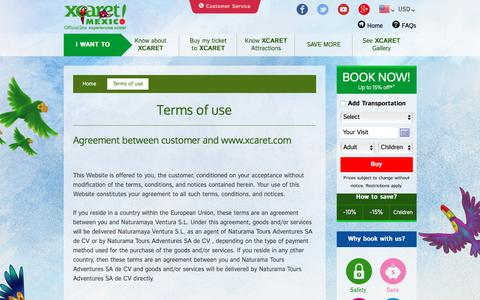 Screenshot of Terms Page xcaret.com - Terms of use | Xcaret Park Cancun Mexico - captured Aug. 17, 2016