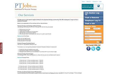 Screenshot of Pricing Page ptjobs.com - PTJobs.com |Job Posting Rates & Pricing for Physical Therapy Employers - captured Oct. 17, 2016