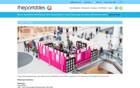 Screenshot of Locations Page theportables.com - Visit Us  – The Portables trade show displays - captured Oct. 9, 2014