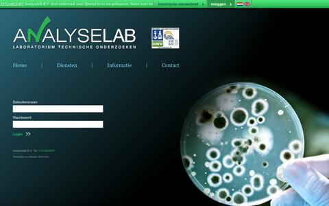 Screenshot of Login Page analyselab.nl - Analyselab - Inloggen - captured Oct. 4, 2014