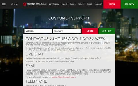 Screenshot of Support Page gentingcasino.com - Customer Support | Genting Casino - captured Nov. 18, 2015