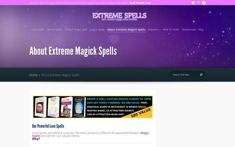 Screenshot of About Page extremespells.com - About Extreme Magick Spells - Extreme Spells - captured Sept. 30, 2018