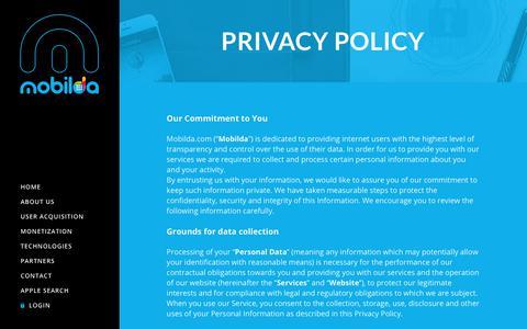 Screenshot of Privacy Page mobilda.com - Privacy Policy – Mobilda - captured Oct. 16, 2018