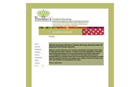 Screenshot of Press Page barkhascustomsourcing.com - Barkha's Custom Sourcing and Textile Development Contact - captured Oct. 5, 2014