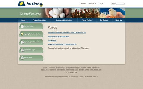 Screenshot of Jobs Page hyline.com - Hyline: Careers,chickens,genetics,poultry,eggs,diseases,technology,breeds,farming,egg production - captured Sept. 30, 2018