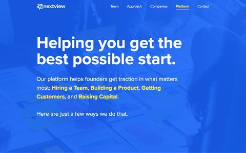 Screenshot of nextviewventures.com - Platform - NextView Ventures - captured Aug. 2, 2017