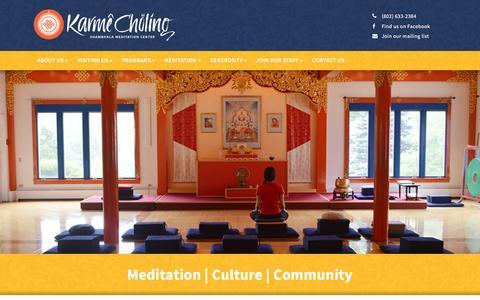 Screenshot of Home Page karmecholing.org - Karmê Chöling | Shambhala Meditation Center - captured Feb. 12, 2016