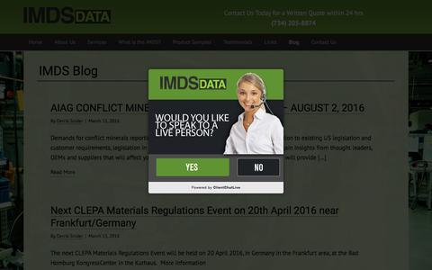 Screenshot of Blog imdsdata.org - IMDS Blog - IMDS Data - captured July 21, 2016