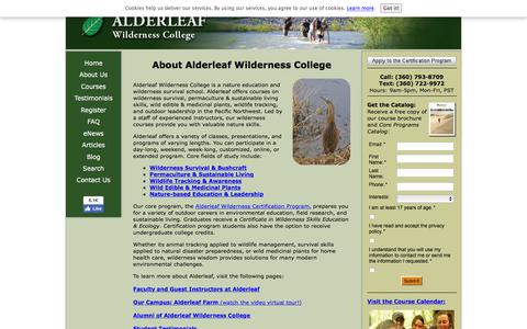 Screenshot of About Page wildernesscollege.com - Alderleaf Wilderness College: About Us - captured Sept. 23, 2018