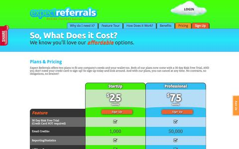 Screenshot of Pricing Page expectreferrals.com - Pricing Plans that Fit Every Budget | Expect Referrals - captured Sept. 19, 2014