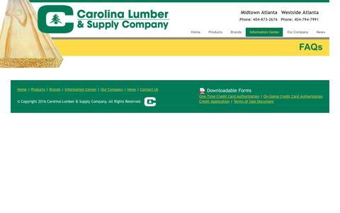 Screenshot of FAQ Page carolinalumber.com - FAQs – Carolina Lumber & Supply Company - captured Oct. 25, 2016