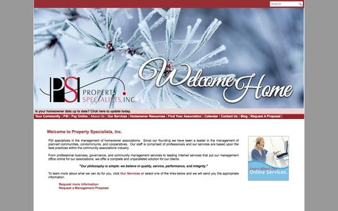 Screenshot of About Page psimanagement.net - Property Specialists, Inc - Homeowners associations management - captured Feb. 2, 2016