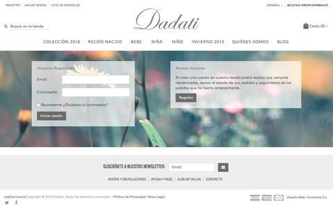 Screenshot of Login Page dadati.es - Login. Dadati - Moda infantil - captured July 31, 2016