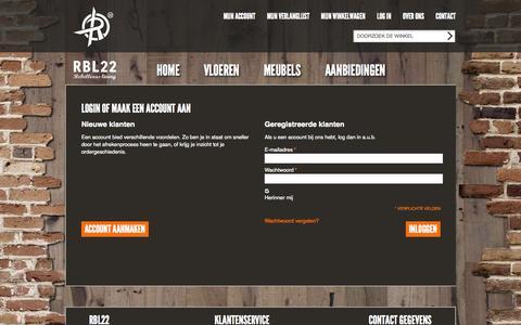 Screenshot of Login Page rbl22.com - Klant-login | RBL22 rebellious living - captured Nov. 4, 2014