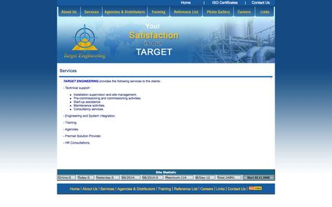 Screenshot of Services Page target-engineering.com captured Oct. 1, 2014