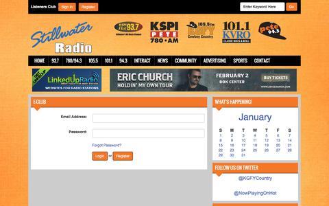 Screenshot of Login Page stillwaterradio.net - E-club - Stillwater Radio - captured Jan. 31, 2017