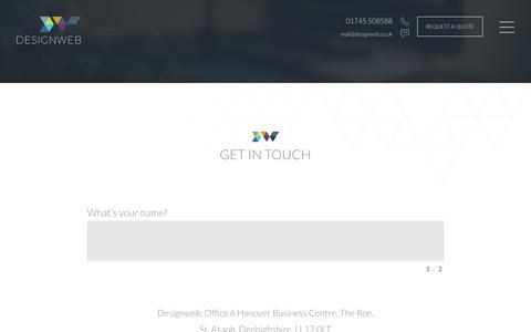 Screenshot of Contact Page designweb.co.uk - Contact Us   DesignWeb - captured Jan. 7, 2016