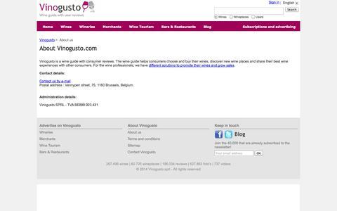 Screenshot of About Page vinogusto.com - Vinogusto - Wine guide - Vinogusto - captured Oct. 26, 2014