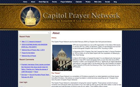 Screenshot of About Page capitolprayernetwork.org - About   Capitol Prayer Network - captured Sept. 26, 2014