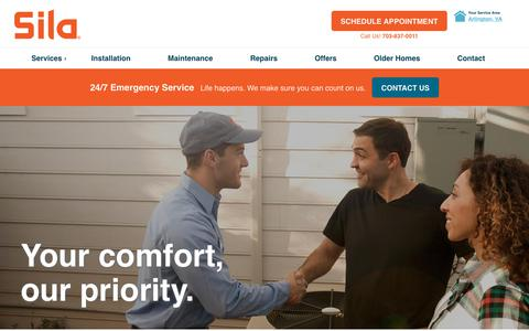 Screenshot of Services Page sila.com - Heating, Air Conditioning, Electrical, Plumbing & Home Services · Sila Heating & Air Conditioning - captured May 13, 2018