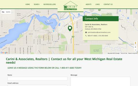 Screenshot of Contact Page carinirealtors.com - Contact us for all your West Michigan Real Estate needs! - captured Jan. 20, 2016