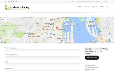 Screenshot of Contact Page Maps & Directions Page zendata.ca - Contactez-nous   zendatamarketing - captured Dec. 2, 2016