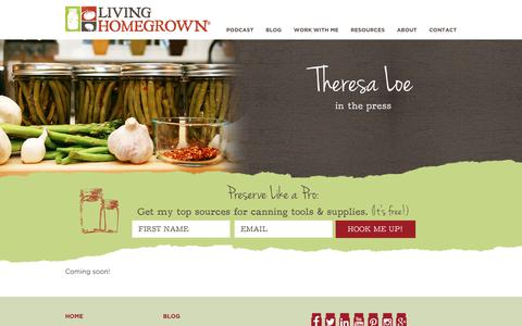 Screenshot of Press Page livinghomegrown.com - Living Homegrown - captured Nov. 8, 2018