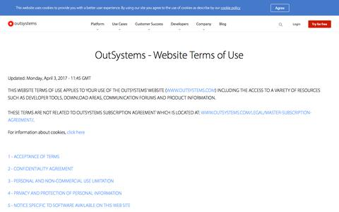OutSystems Web Properties - Terms of Use | OutSystems