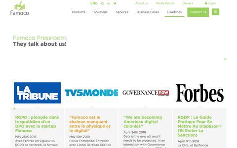 Screenshot of Press Page famoco.com - Pressroom | Headlines | Famoco | ENG - captured July 13, 2018