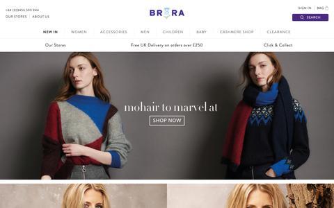 Screenshot of Home Page brora.co.uk - Brora | Luxury Scottish Cashmere & Clothing - captured Oct. 6, 2018