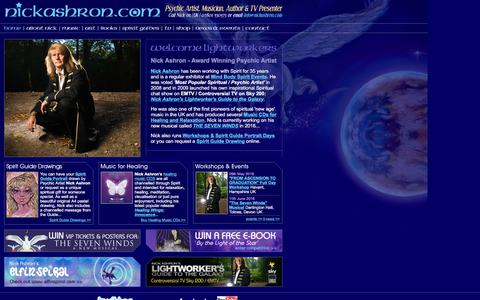 Screenshot of Home Page nickashron.com - Psychic Art / Artist, Guardian Angels and Spirit Guide Drawings / Pictures / Portraits - captured June 13, 2016
