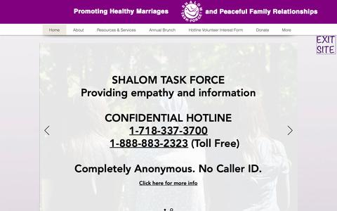 Screenshot of Home Page shalomtaskforce.org - Jewish Domestic Abuse   Shalom Task Force - captured Oct. 20, 2018