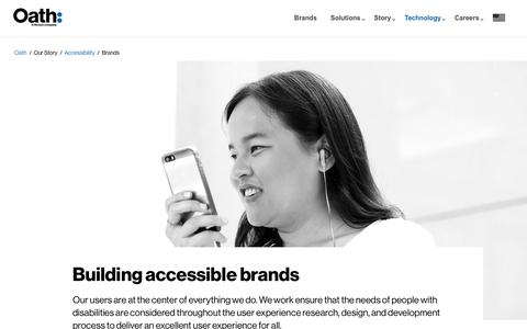 Screenshot of Products Page oath.com - Accessibility at Oath - Brands - captured July 9, 2018