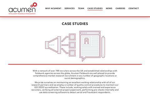Screenshot of Case Studies Page acumenfieldwork.com - Case Studies - Acumen Fieldwork - captured Dec. 9, 2018
