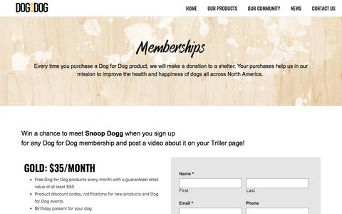 Screenshot of Signup Page dogfordog.com - Memberships - Dog For Dog - captured Nov. 17, 2019