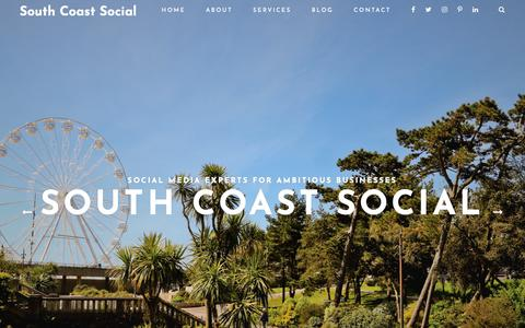 Screenshot of Home Page southcoastsocial.com - South Coast Social - Social Media Experts For Ambitious Businesses - captured Oct. 20, 2018