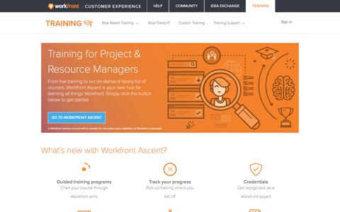 Screenshot of Support Page workfront.com - Training for Project & Resource Managers – Workfront - captured Dec. 29, 2017