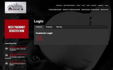 Screenshot of Login Page irwinsafety.com - Login | Irwin's Safety - captured Oct. 27, 2014