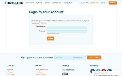 Screenshot of Login Page dialmycalls.com - DialMyCalls Support Team says… - captured June 7, 2019