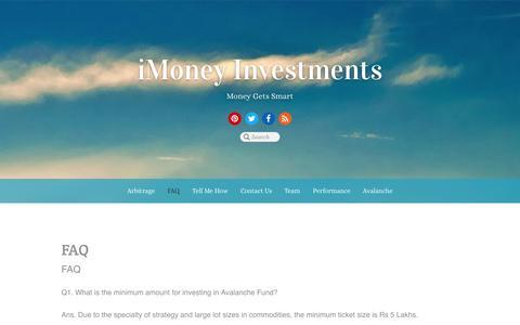 Screenshot of FAQ Page imoneyinvestments.com - FAQ - captured Oct. 6, 2014