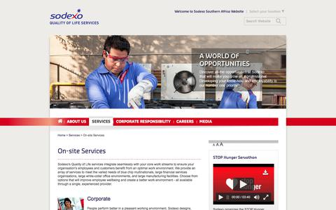 Screenshot of Services Page sodexo.com - Sodexo On-site Services in South Africa - captured July 8, 2019