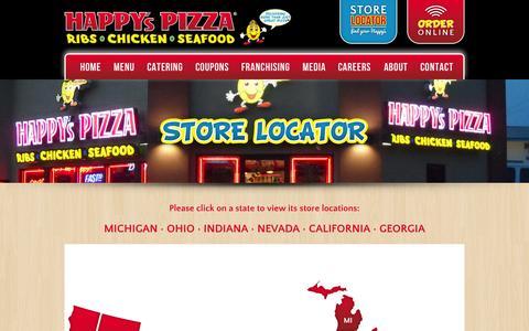 Screenshot of Locations Page happyspizza.com - Happy's Pizza - Store Locator - captured July 4, 2015