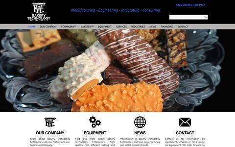 Screenshot of Home Page gobte.com - Industrial Bakery Equipment - captured Nov. 13, 2018